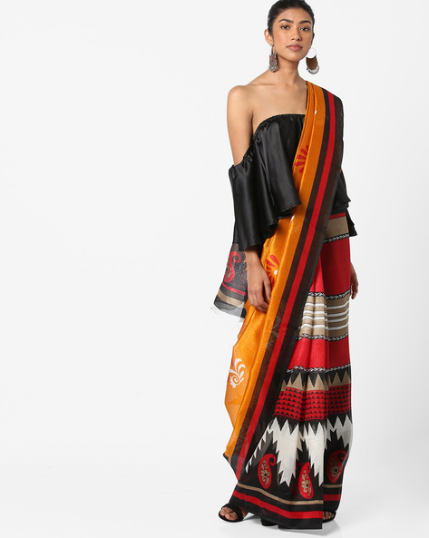 Printed Saree With Striped Border By Florence ( Multi )