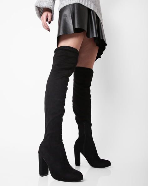 Thigh-High Boots With Block Heels By Truffle Collection ( Black )