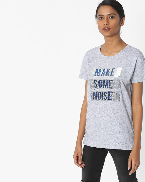 Sequinned Crew-Neck T-shirt By Pepe Jeans ( Grey )