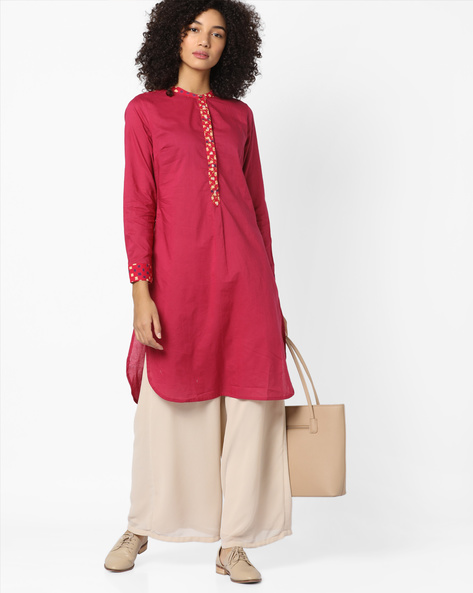 Straight Kurta With Mandarin Collar By AJIO ( Multi )