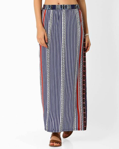 Printed Maxi Skirt By Izabel London By Pantaloons ( Blue )