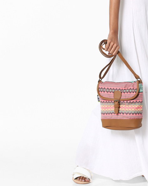Printed Sling Bag By Kanvas Katha ( Tan )