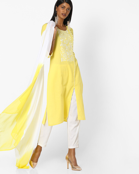 Straight Kurta With Dupatta By AVAASA SET ( Yellow )