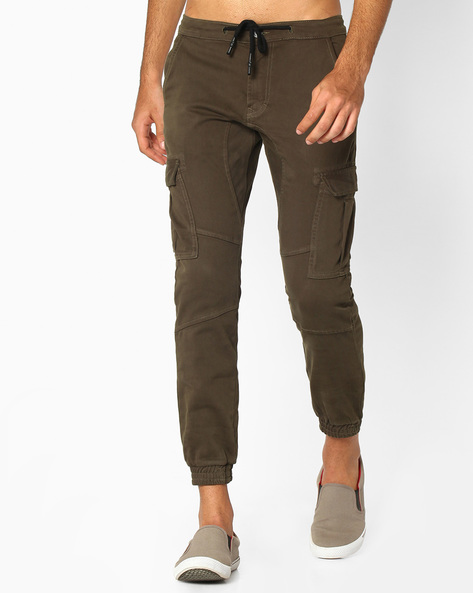 Cargo Joggers With Drawstring Fastening By DNMX ( Olive )