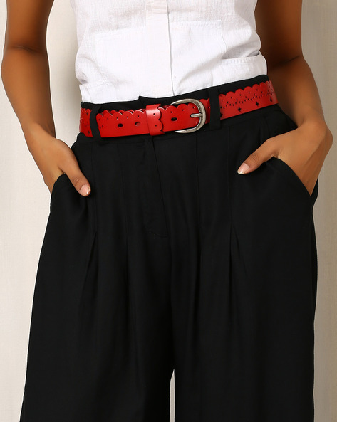 Faux Leather Belt With Cut-Work By Indie Picks ( Red )