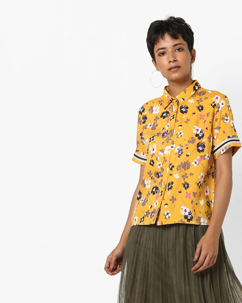Floral Shirt With Short Sleeves By AJIO ( Mustard )