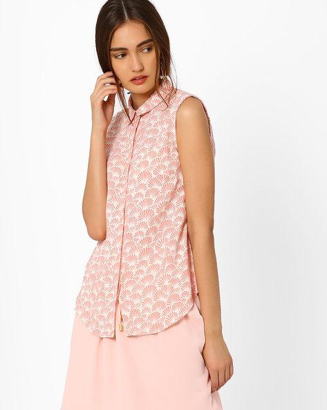 Printed Sleeveless Shirt By AJIO ( Pink )