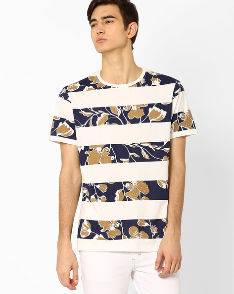 Floral Print Striped T-shirt By AJIO ( Offwhite )