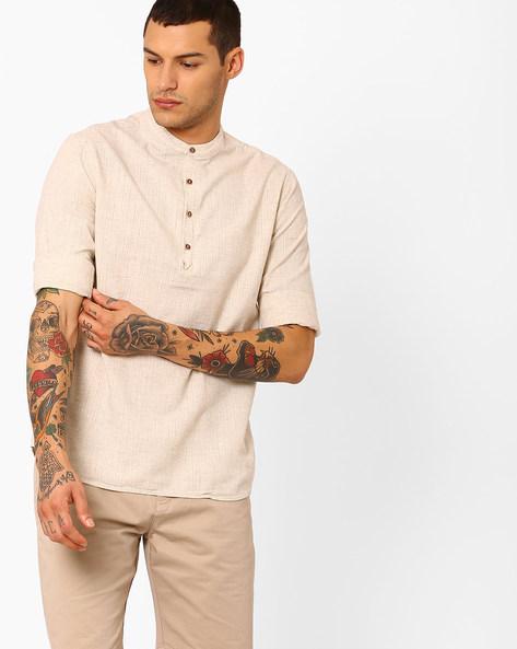 Shirt With Mandarin Collar By AJIO ( White )