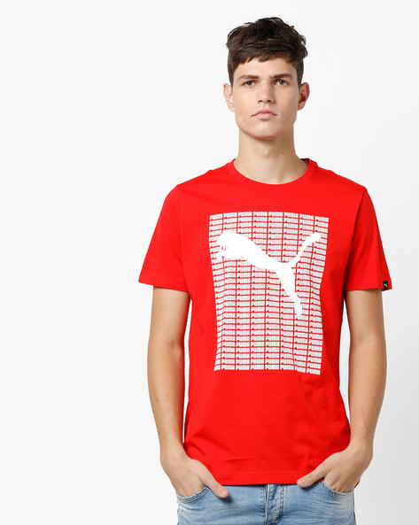 Crew-Neck T-shirt With Signature Branding By Puma ( Red )