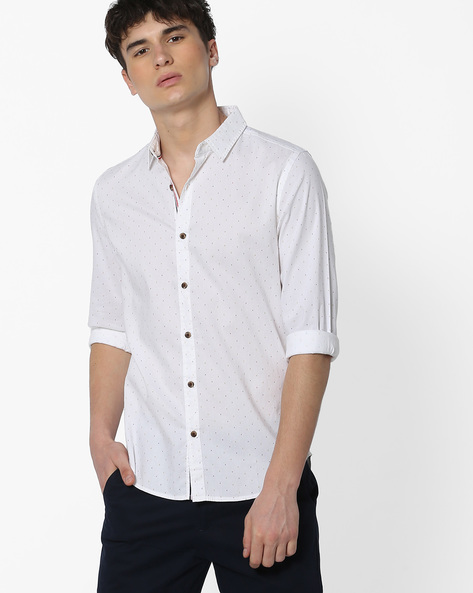 Slim Fit Printed Cotton Shirt By UNITED COLORS OF BENETTON ( Offwhite )