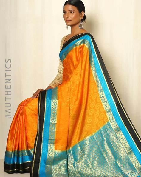 Pure Mysore Silk Crepe Saree By Indie Picks ( Orange )