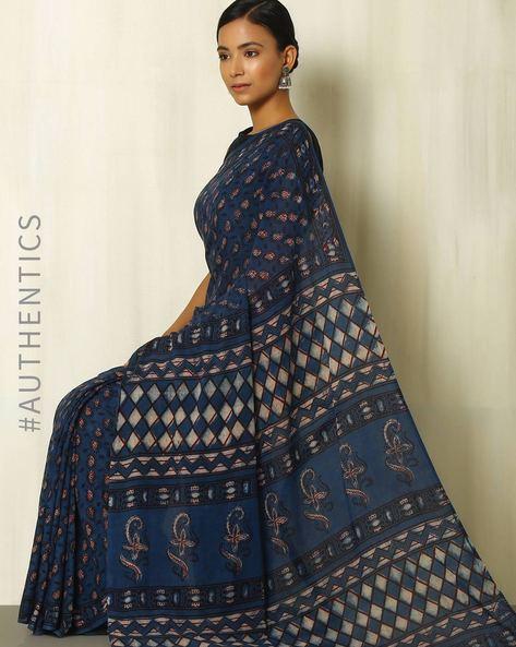 Tarapur Hand Block Print Indigo Cotton Saree By Indie Picks ( Indigo ) - 460084389001