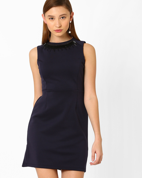 Tailored Dress With Embellished Neckline By AJIO ( Navyblue )