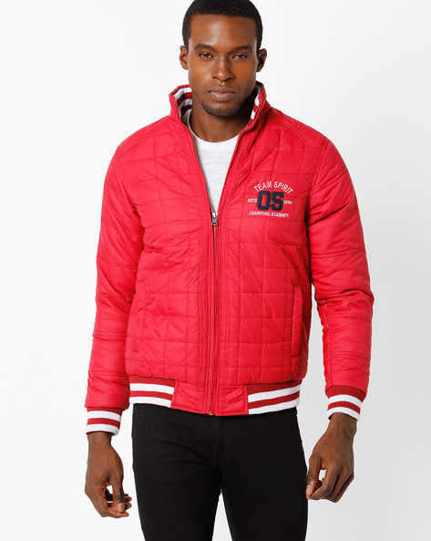 Quilted Jacket With Mock Collar By TEAM SPIRIT ( Red )