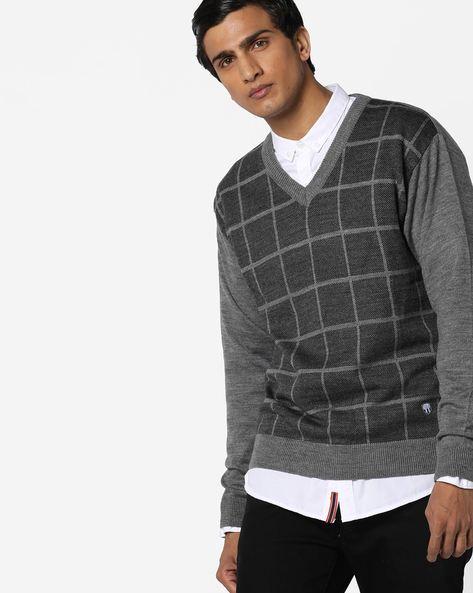 Checked V-neck Pullover By DUKE ( Greymelange )