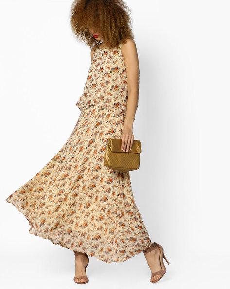 Floral Print Top & Skirt Set By AJIO ( Beige )