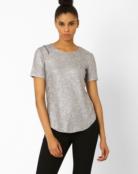Knitted Top With Curved Hem By Femella ( Grey )