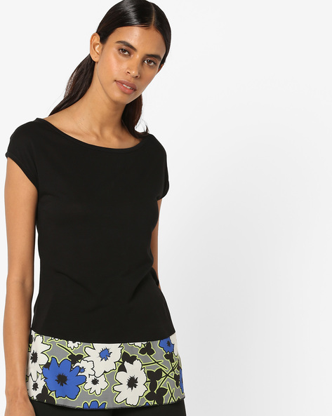 Cut & Sew Top With Floral Hemline By UNITED COLORS OF BENETTON ( Black )