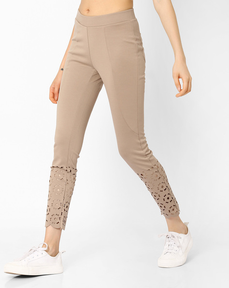 Ankle-Length Leggings With Cut-Outs By CODE By Lifestyle ( Beige )