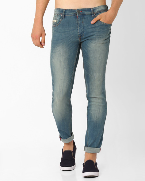 Lightly Washed Slim Fit Jeans By DNM X ( Green )