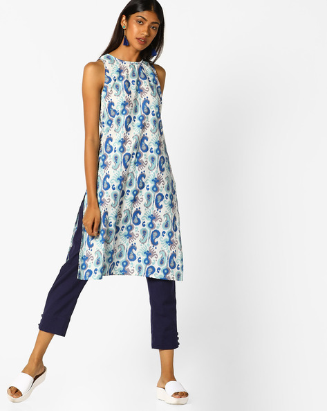 Paisley Print Sleeveless Kurta By AJIO ( Blue )