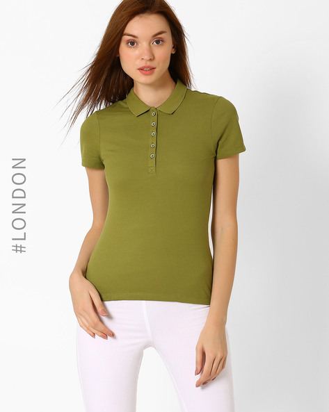 Pique Knit Polo T-shirt By Marks & Spencer ( Olive )