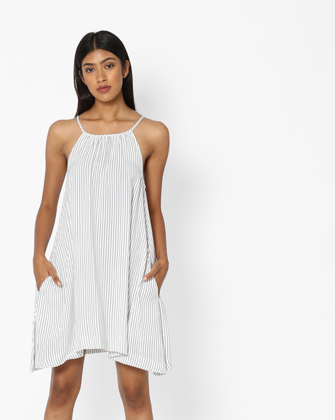 Striped Dress With Strappy Sleeves By Pink Woman ( White )