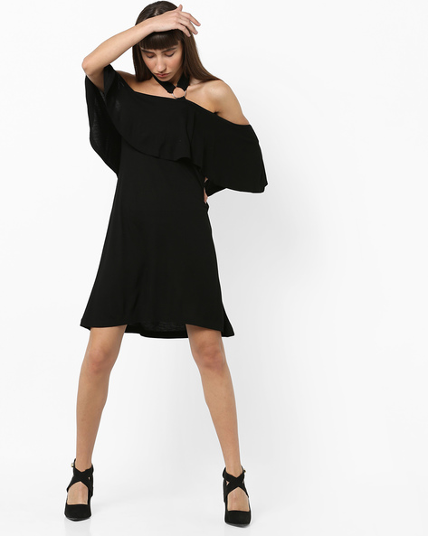 Off-Shoulder Dress With Ruffle Panel By AJIO ( Black )