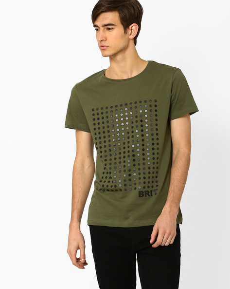 Printed Crew-Neck Slim T-shirt By Blue Saint ( Olive )