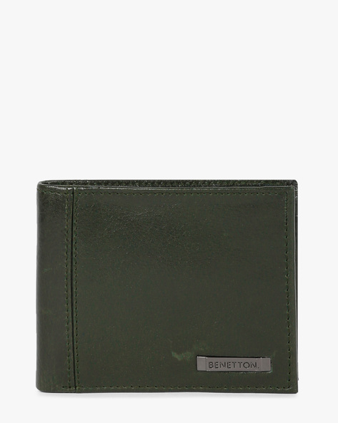 Genuine Leather Bi-Fold Wallet By UNITED COLORS OF BENETTON ( Olive ) - 460133118002