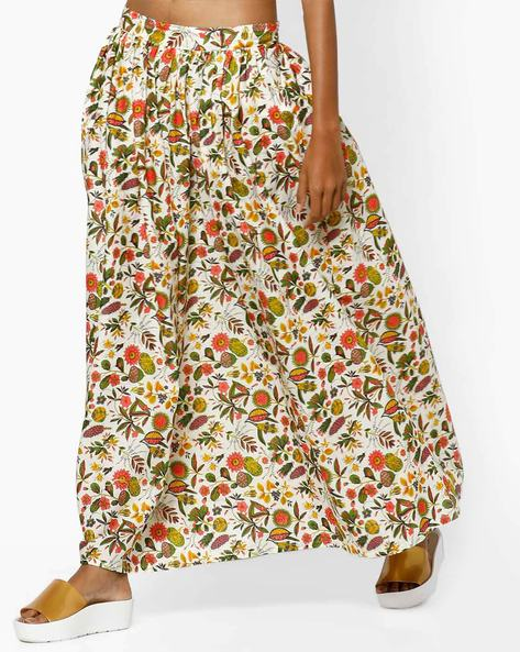 Floral Print Flared Skirt By AJIO ( Offwhite )