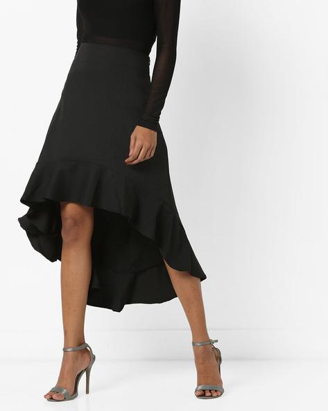 High-Low Skirt With Ruffled Hemline By AJIO ( Black )