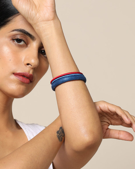 Handloom Pure Tussar Silk And Silk Thread Bangle Set By PADMAHASTHA ( Royalblue )