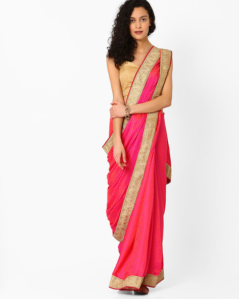 Printed Saree With Contrast Border By Pihu ( Pink ) - 460056209001
