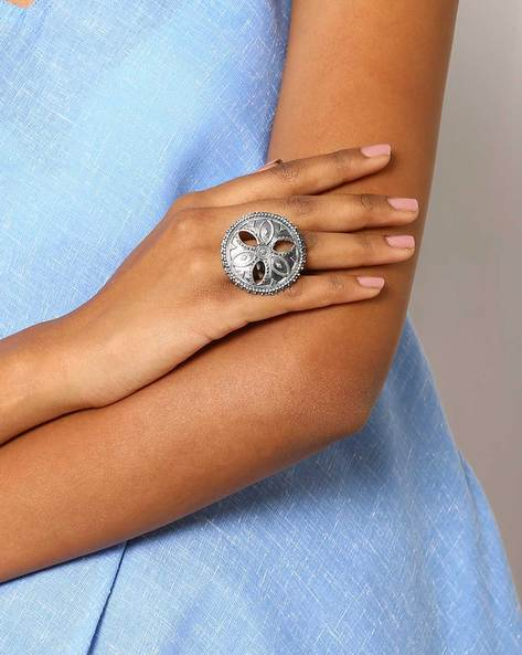 Oxidised Statement Ring By Indie Picks ( Silver ) - 460046707001