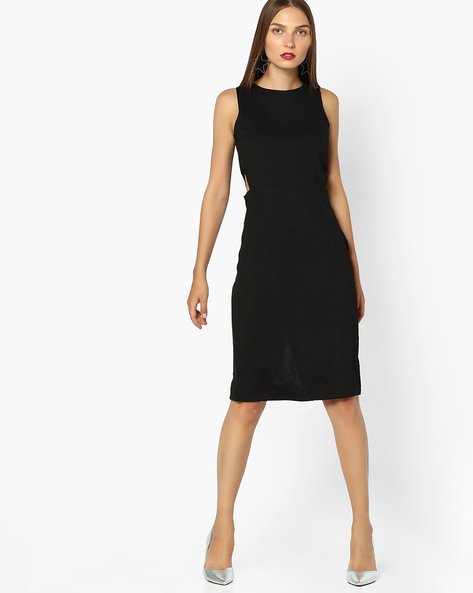 Bodycon Dress With Cut-Out By AJIO ( Black )