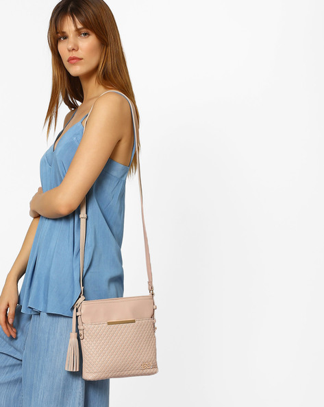Textured Sling Bag With Metallic Detail By E2O ( Beige )
