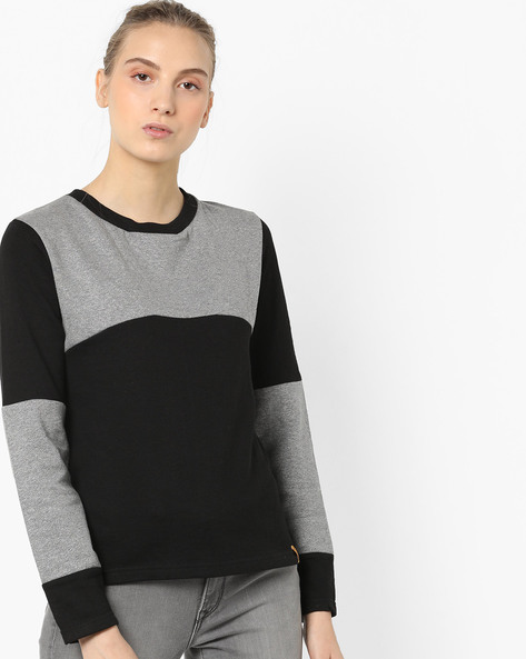 Colourblock Crew-Neck Sweatshirt By Campus Sutra ( Grey )