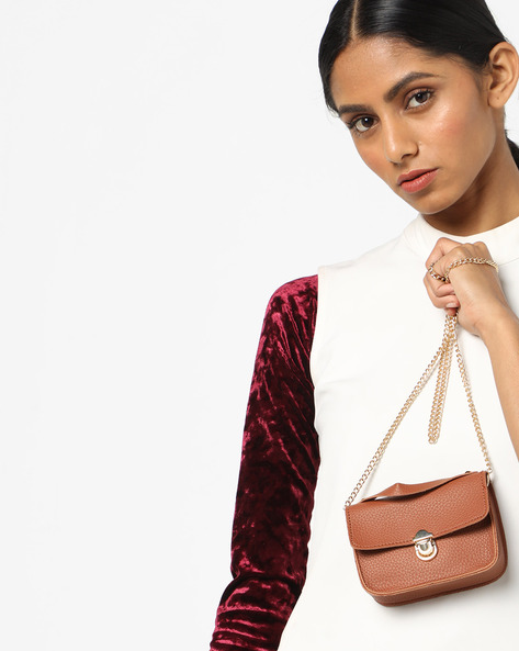 Textured Sling Bag By 20Dresses ( Brown )