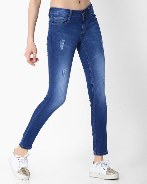 Slim Fit Jeans With Distressing By KRAUS ( Blue )