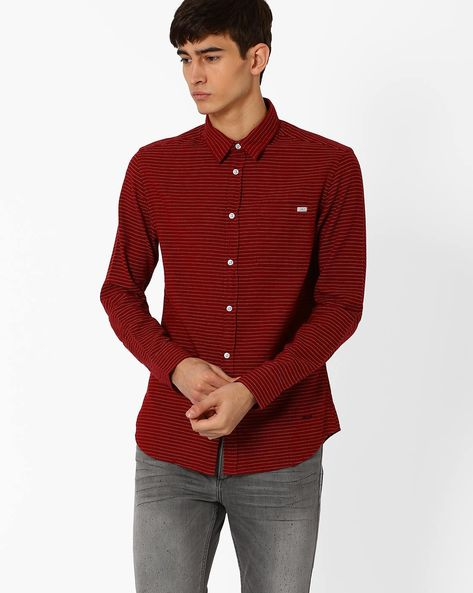 Slim Fit Shirt With Dotted Stripes By Jack & Jones ( Maroon )