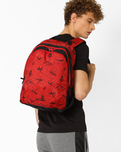 Printed Backpack With Double Compartments By Wildcraft ( Red )