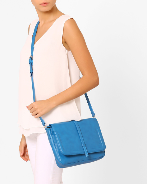 Faux-Leather Sling Bag By AJIO ( Blue )