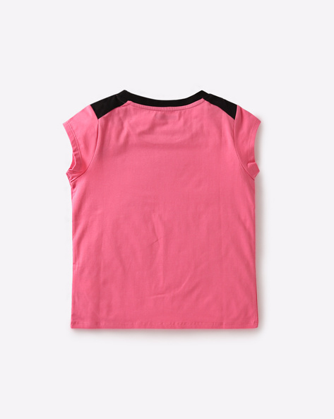 Graphic Print Crew-Neck T-shirt By AJIO Girl ( Pink )