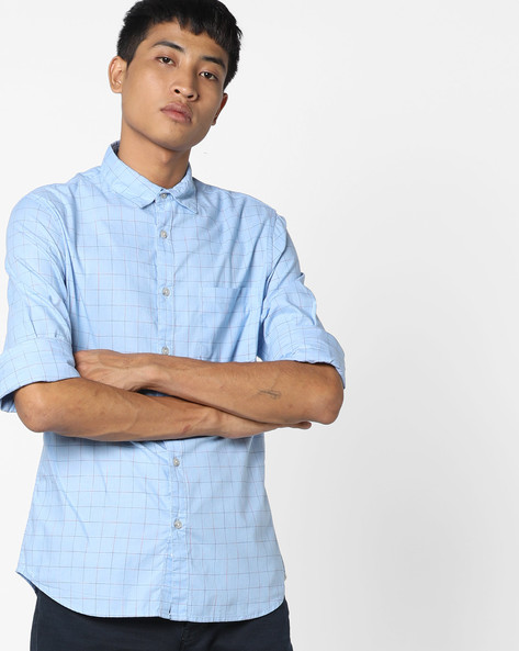Graph Check Shirt With Patch Pocket By AJIO ( Blue )