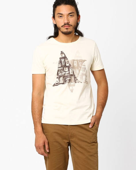 Regular Fit Graphic Print T-shirt By AJIO ( Offwhite ) - 460025669002