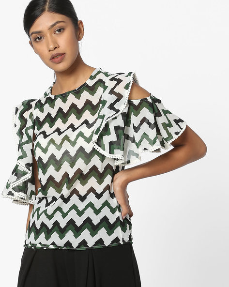 Printed Top With Ruffled Cold-Shoulder Sleeves By FIG ( Green )