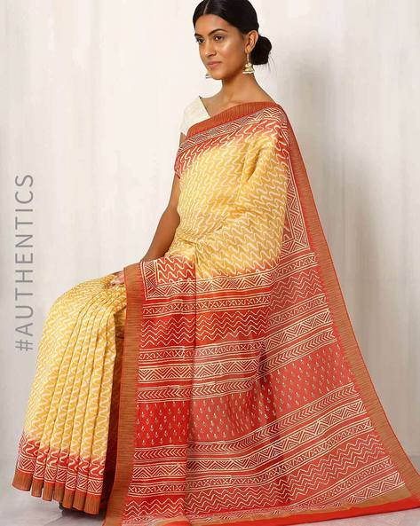 Bagru Print Chanderi Saree By Indie Picks ( Yellow )