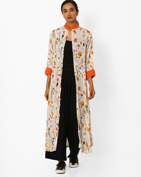 Digital Print Open-Front Kurta By Bannos Swagger ( Cream )